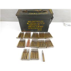 CZECH 8MM MAUSER AMMO, SOME ON STRIPPER CLIPS, IN METAL AMMO TIN