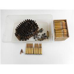 7.62 NATO AMMO/ BRASS ON MACHINE GUN LINKS, 7.92 MM BALLAMMO