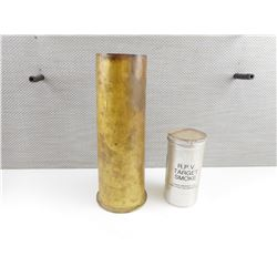 A/S MARK NO 10 MORTAR BRASS CASE, DATED 1965, R.P.V. TARGET SMOKE CAN