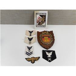 GERMAN PLAQUE AND ASSORTED CLOTH BADGES