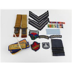 ASSORTED CANADIAN CLOTH BADGES AND WWII BELT HANGERS