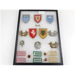 GLASS CASE OF ASSORTED POST WWII GERMAN MILITARY BADGES