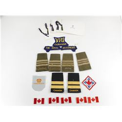 ASSORTED MILITARY EPAULETTE'S AND CANADIAN BADGES
