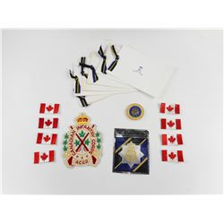 ASSORTED THE ROYAL CANADIAN REGIMENT BADGES AND DECALS