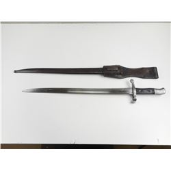 PORTUGESE SWORD BAYONET FOR M1886 KROPATCHEK RIFLE AND SCABBARD WITH FROG
