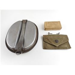 WWII US MILITARY MESS TIN AND BATTLE DRESSING