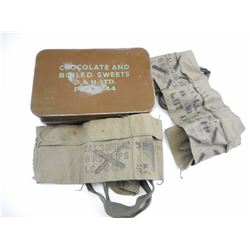 WWII RATION TIN AND .30 CARBINE BANDOLIERS