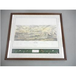 GETTY'S BURG BATTLEFIELD FRAMED PAINTING WITH RELICS