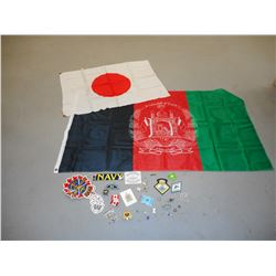 ASSORTED MILITARY TYPE FLAGS, AND BADGES