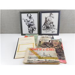 ASSORTED WWII GERMAN BOOKS AND PICTURED FRAMES