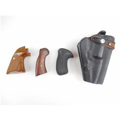 ASSORTED HANDGUN GRIPS AND LEATHER HOLSTER
