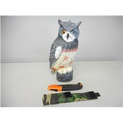 FOLDING HUNTING SAW AND OWL DECOY