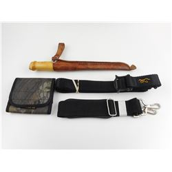 J.MARTINI FILLET KNIFE AND ASSORTED SLINGS