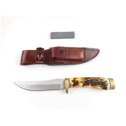 SCHRADE UNCLE HENRY POCKET KNIFE WITH SHEATH AND SHARPENING STONE