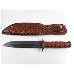 FIXED BLADE KNIFE AND LEATHER SHEATH