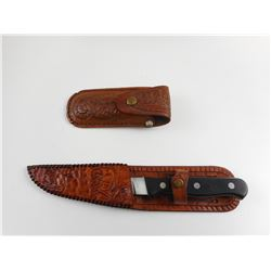 FIXED BLADE KNIFE AND POCKET KNIFE WITH LEATHER SHEATHS