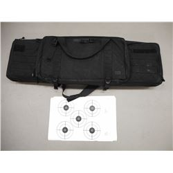 TACTICAL TYPE GUN CASE AND ASSORTED PAPER TARGETS