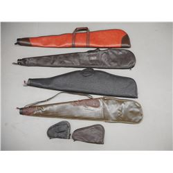 ASSORTED LEATHER RIFLE AND HAND GUN CASES