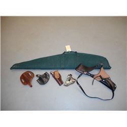 SOFT RIFLE CASE AND ASSORTED HOLSTERS