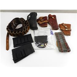 ASSORTED LEATHER HOLSTERS AND AMMO BELTS