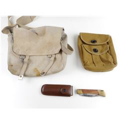 ASSORTED MAGAZINE POUCHES AND POCKET KNIFE