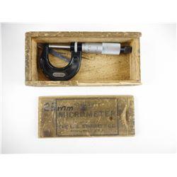 STARRETT 25MM MICROMETER WITH WOOD BOX