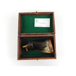 HAND CRAFTED BRASS/COPPER TYPE FINISH POWDER HORN IN WOODEN BOX