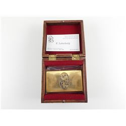 SOLID BRASS BUISNESS CARD HOLDER WITH ENGRAVED ANIMAL. AND IN WOODEN BOX