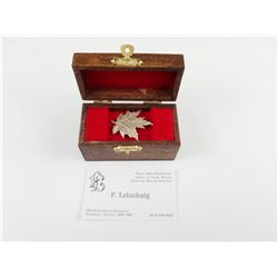 HAND CRAFTED STERLING SILVER CANADIAN FLAG PIN AND WOODEN BOX