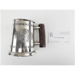 ENGLISH PEWTER MUG WITH HAND CRAFTED DESIGN
