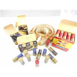 SHOTGUN SHELLS ASSORTED GAUGES, 12 GA, .410 GAUGE, 12 GA SHOTGUN BELT, CANVAS