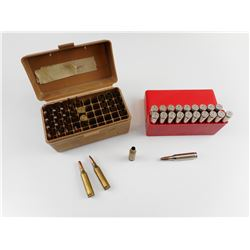 243 WIN ASSORTED AMMO, BRASS CASES, IN PLASTIC AMMO BOXES