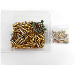 ASSORTED RELOADED HANDGUN AMMO, DUMMIES, BRASS