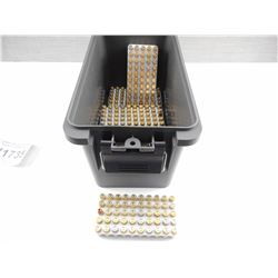 9MM LUGER RELOADED AMMO, IN PLASTIC AMMO CASE