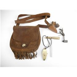"MUZZLE LOADER LEATHER POSSIBLES BAG, WITH .570"" DIA BULLETS IN BRASS TUBES"