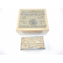 LABEL FROM PEABODY-MARTINI RIFLES SOLID BRASS CARTRIDGES, P.H.F.B. REVOLVER LEFAUCHEUX BOX