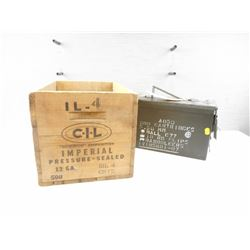 METAL AMMO TIN, AND WOODEN CIL AMMUNITION 12 GA BOX