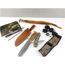 HUNTING KNIVES, AMMO BELT, TRIGGER LOCKS, CLEANING ROD IN POUCH