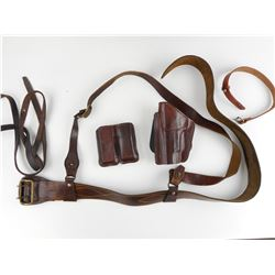ASSORTED LEATHER HOLSTERS AND BELTS