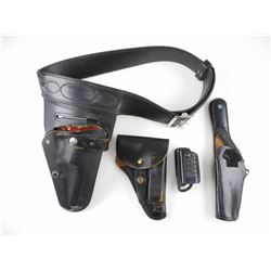 ASSORTED BLACK LEATHER HOLSTERS AND BELT