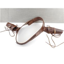 DECORATIVE LEATHER BELT WITH HOLSTERS