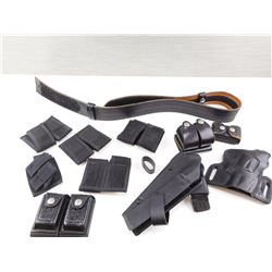 ASSORTED HOLSTERS AND BELT