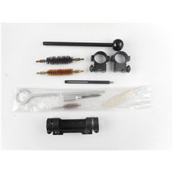 ASSORTED GUN CLEANING SUPPLIES AND SCOPE RINGS