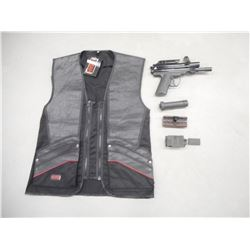 ASSORTED SHOOTING TYPE ACCESSORIES AND PAINT BALL GUN