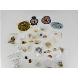 ASSORTED NOVELTY PINS AND BADGES