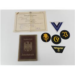 WWII GERMAN NAVY BADGES AND RECORD BOOKLET