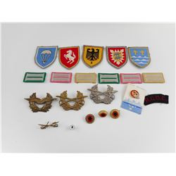 ASSORTED MILITARY CLOTH AND METAL BADGES