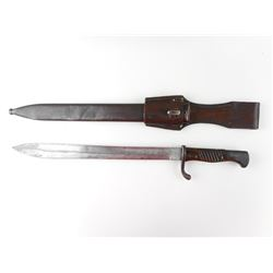 WWI GERMAN 1898/05 BUTCHER BAYONET WITH SCABBARD AND FROG