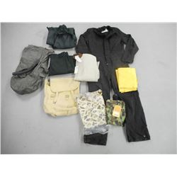 ASSORTED MILITARY TYPE CLOTHING AND BAGS