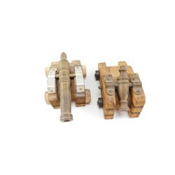 WOODEN REPLICA CANNONS ON WOODEN BASES